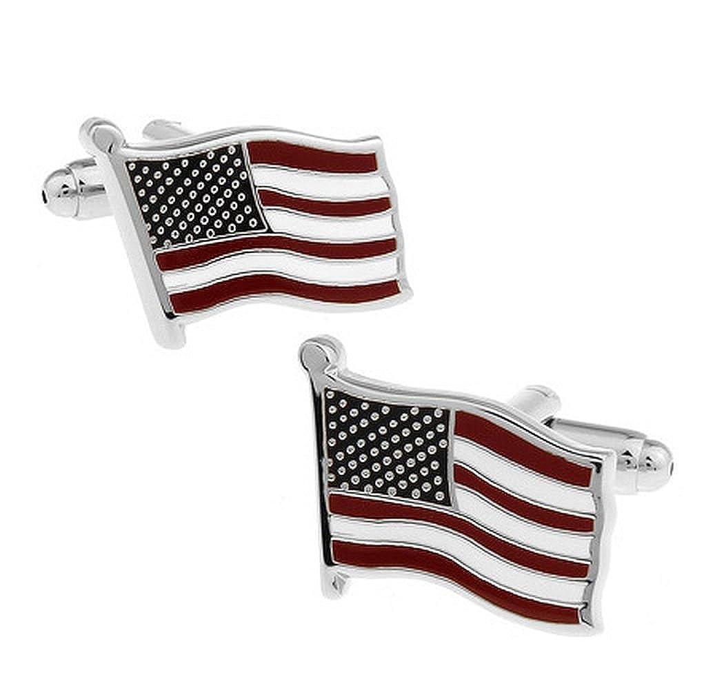バスケットヒル、長方形米国アメリカFlag Cufflinks B077XR1PLB