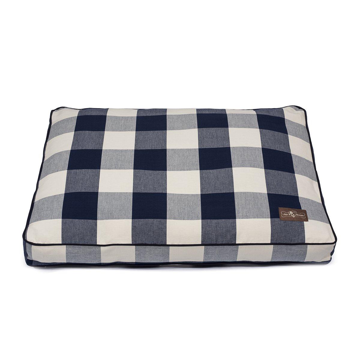Buffalo Check Navy L Buffalo Check Navy L Jax and Bones Premium Cotton Blend Rectangular Pillow Bed, Large, Buffalo Check Navy