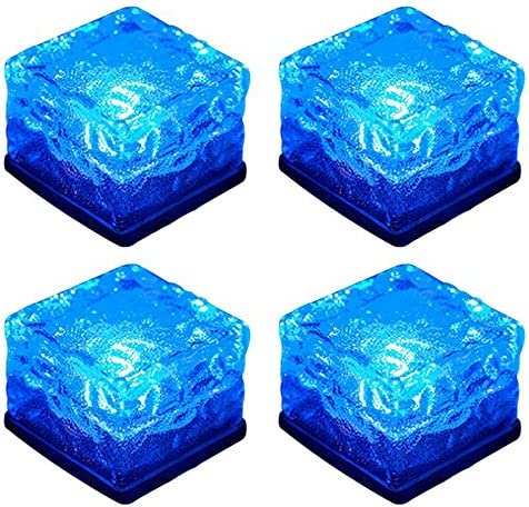 WONFAST Solar Glass Brick Lights, Ice Cube Lights Solar Landscape Light Buried LED Frost Glass Path Lights for Garden, Outdoor Decoration Waterproof 4-Pack Blue