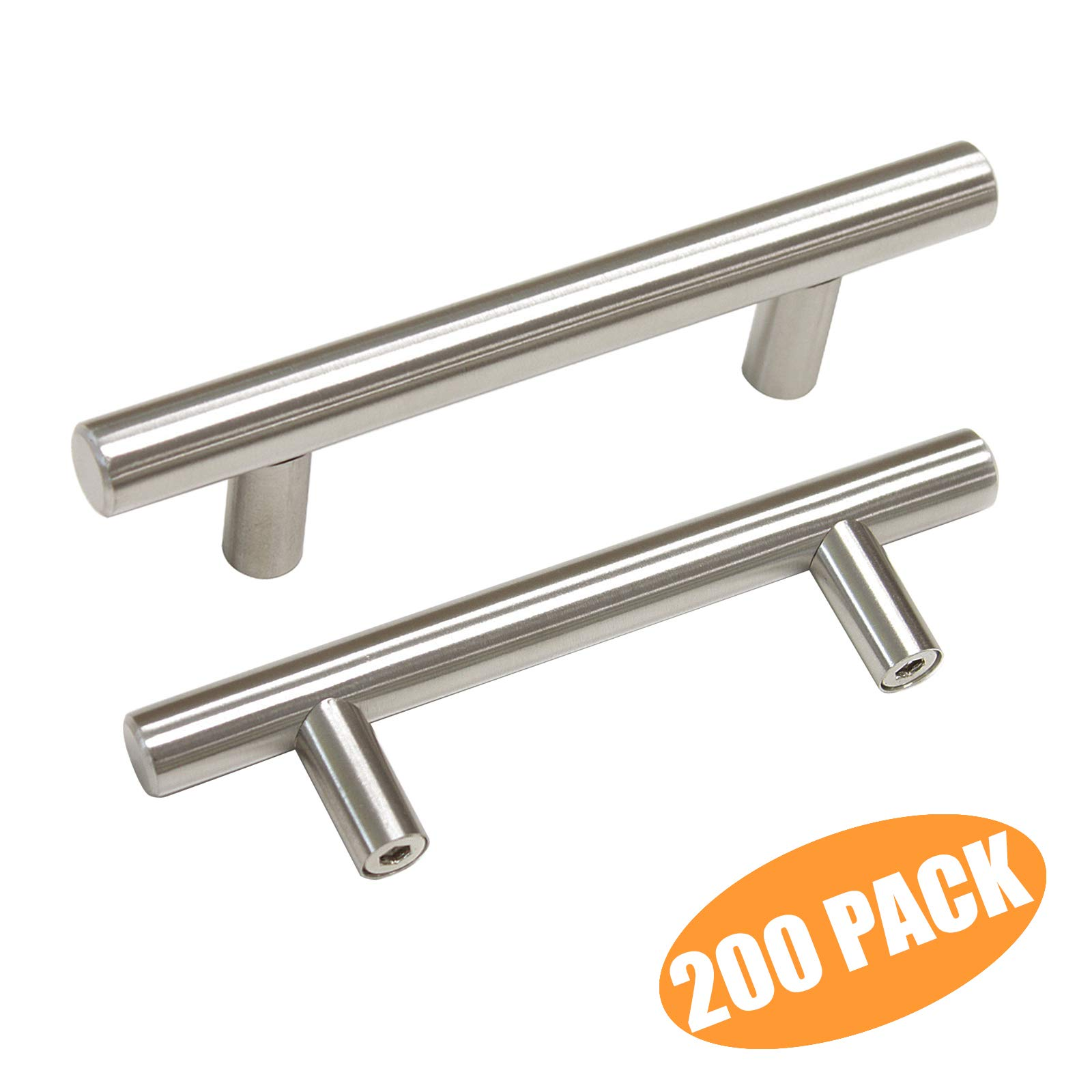 Probrico 3'' Hole Centers Euro T Bar Cabinet Pulls Satin Nickel Kitchen Cabinet Hardware Stainless Steel Bathroom Bedroom Dresser Drawer Knobs Handles(200 Pack)
