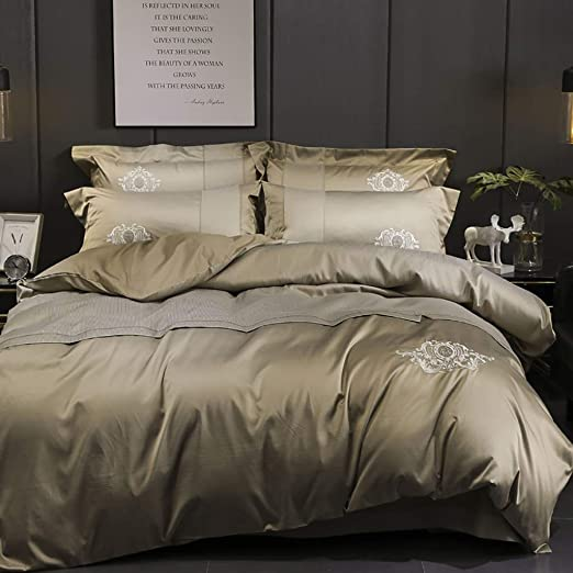 IN ALL USA SIZE 4PC SHEET SET+ 1PC DUVET COVER BLACK SOLID SATIN SILK 5PC