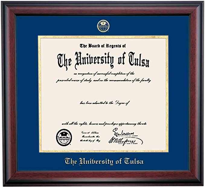 Amazon Com Ocm Diploma Frames The University Of Tulsa Golden Hurricane Displays Diploma Certificate 11 X 14 Navy Gold Mat Home Office Office Professional Education Framed Diploma Graduation Gifts