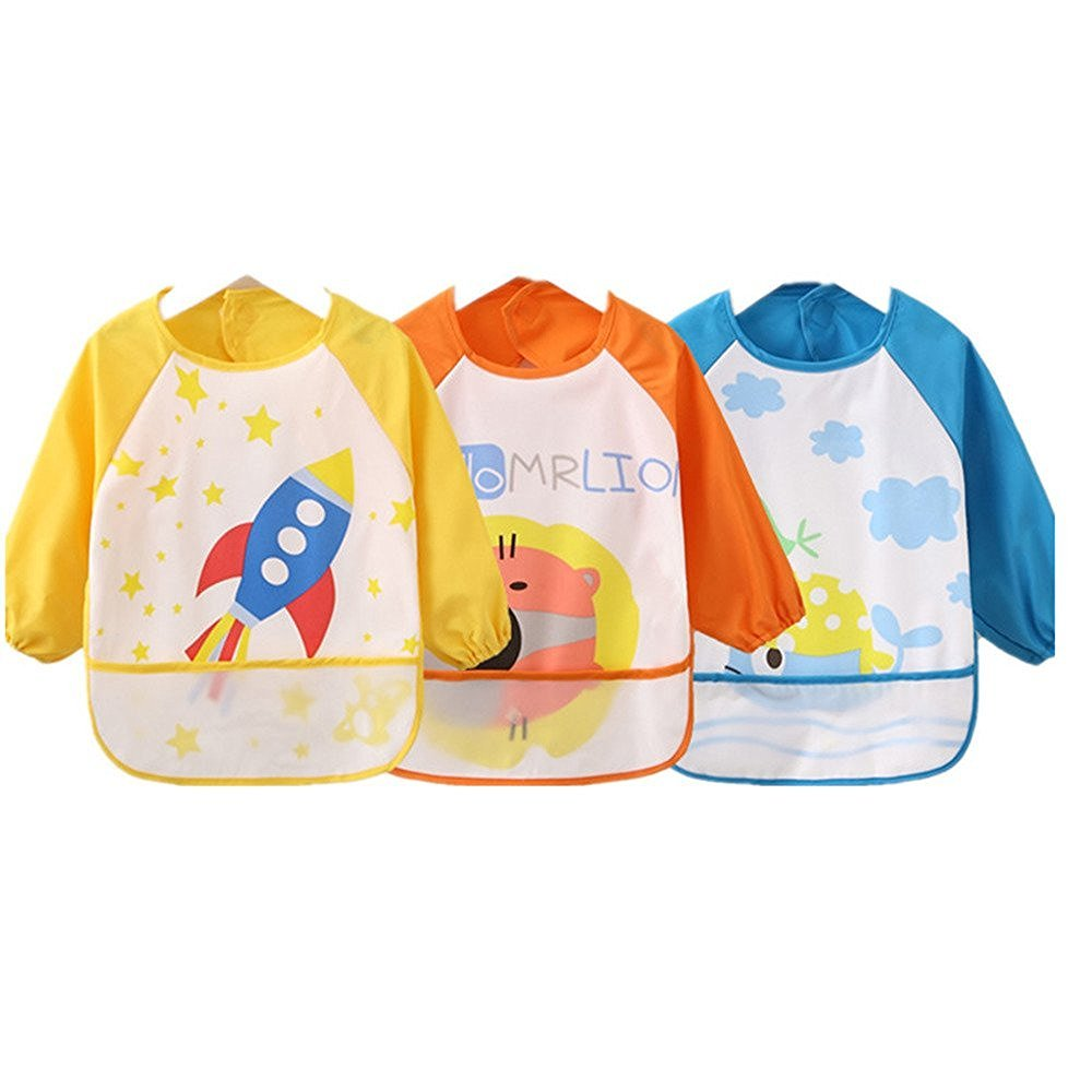 Kids Childs Arts Craft Painting Apron Baby Bib Messy Play Wipe Clean Coverall-Unisex Baby Waterproof Sleeved Bib Eat and Play Smock, Toddler Apron of PEVA Whale (Light Pink Series) rainbow