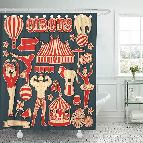 Siamese Twins Costumes Ideas - Semtomn Shower Curtain Clown Vintage Pattern