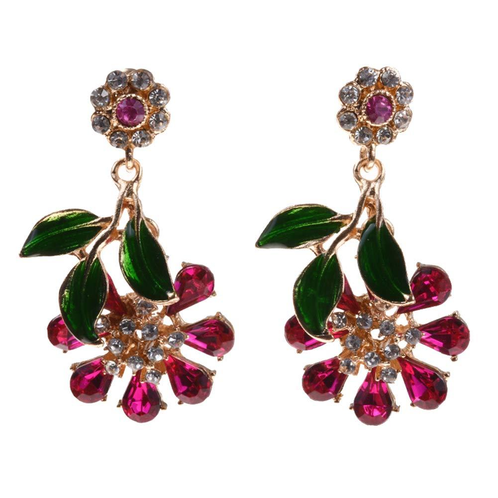 Fashion Leaf Floral Dangle Shiny Rhinestone Women Stud Earrings Jewelry Gift - Rose Red