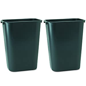Rubbermaid Commercial 295700BK Deskside Plastic Wastebasket, Rectangular, 10 1/4 gal, Black 2 Pack