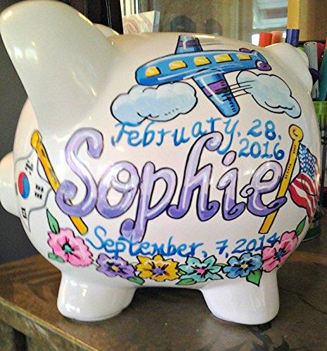 Chosen Child Adoption Design Handpainted Piggy Bank by Stymiepie Studios