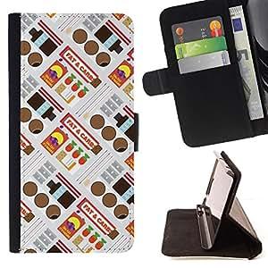 - Retro Candy Wrapper Pattern - - Prima caja de la PU billetera de cuero con ranuras para tarjetas, efectivo desmontable correa para l Funny HouseFOR Samsung Galaxy S3 III I9300