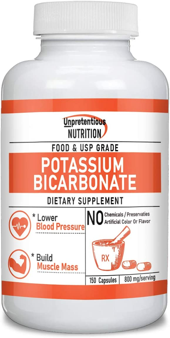 Potassium Bicarbonate Capsules, 150 Capsules, 800 mg. per Serving by Unpretentious Nutrition, High in Potassium, Food & USP Pharmaceutical Grade, for Good Heart, Muscle & Nerve Health (37-Day Supply)