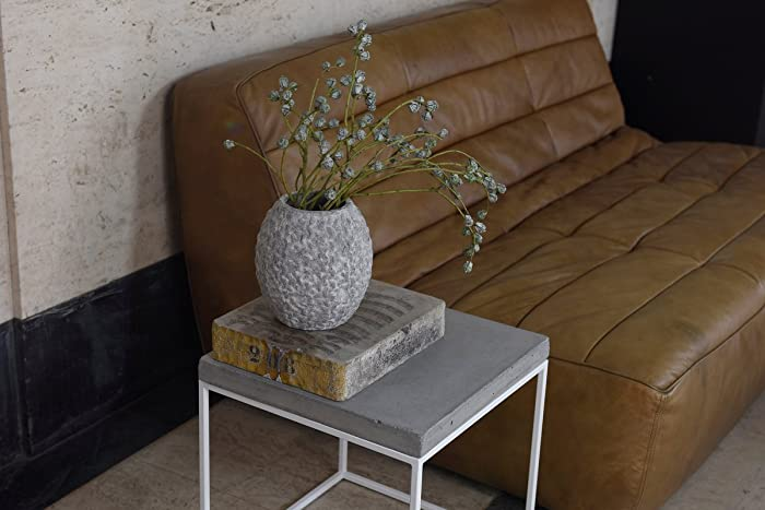 cube shaped side table end or coffee table stool white steel base w