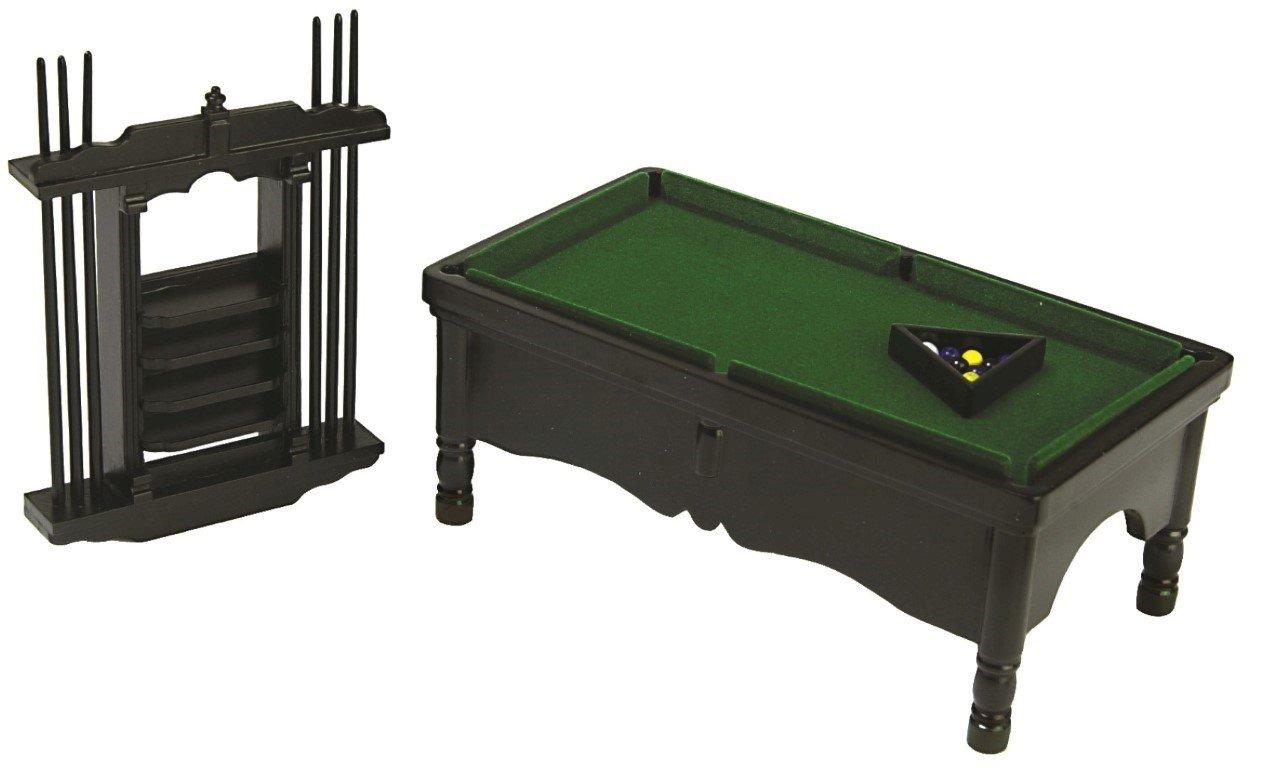 Dollhouse Miniature Black Pool Table Set