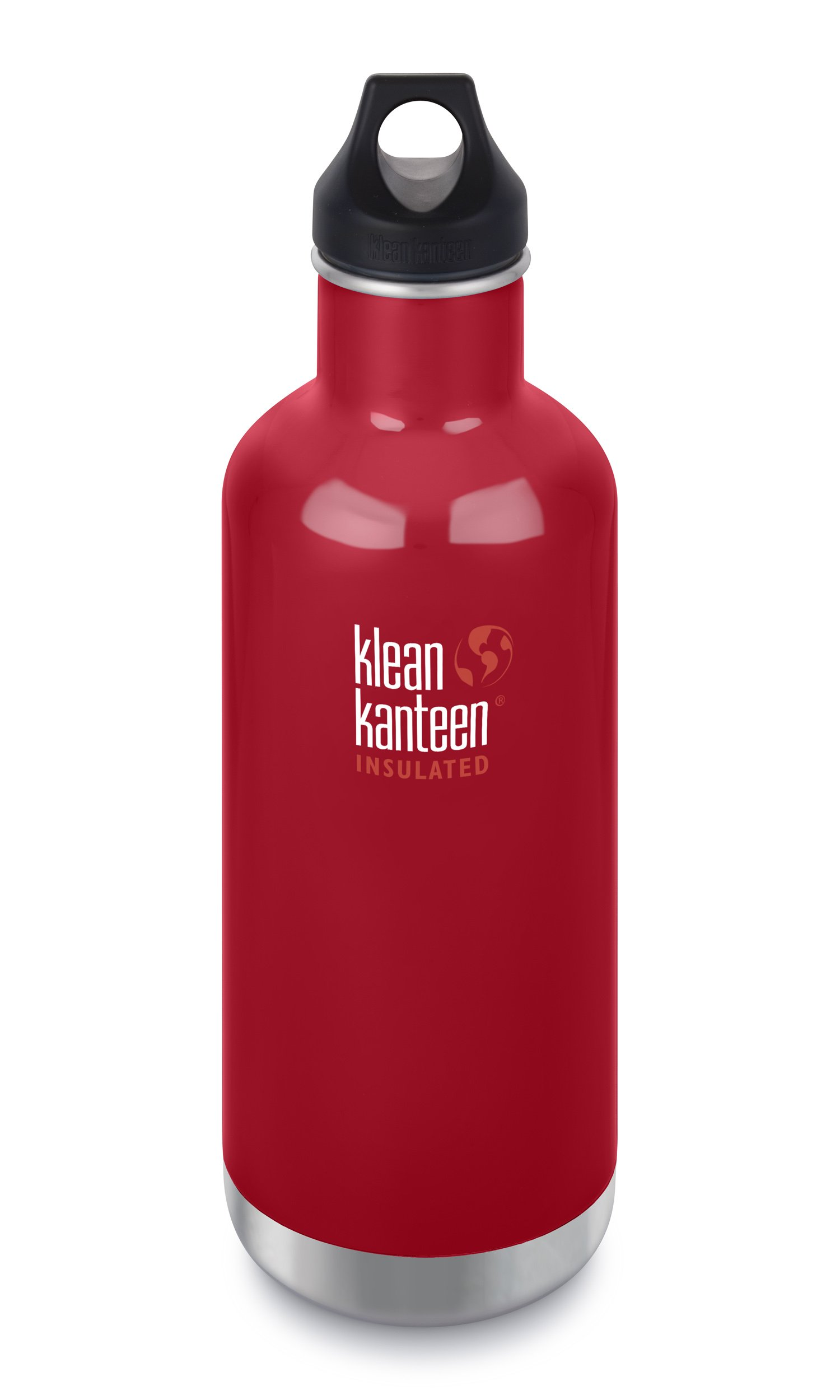 Klean Kanteen Classic Insulated Stainless Steel Water Bottle with Klean Coat and Leak Proof Loop Cap - 32oz - Mineral Red