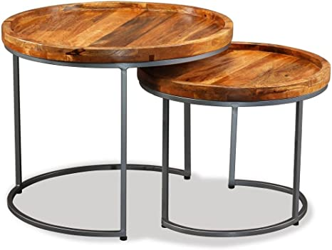 Safe Night Set Of Tables Set Of 2 Side Table Coffee Table Solid Mango Wood Coffee Table Amazon De Kuche Haushalt