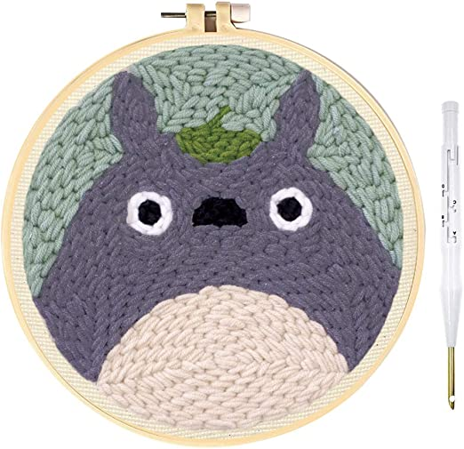 Stosts Cat Punch Needle Embroidery Kit Beginner Hook Kits with Display Stand Rug-Punch Hooking Knitting Kit 8 x 8 Inch Embroidery Pen and Hoop