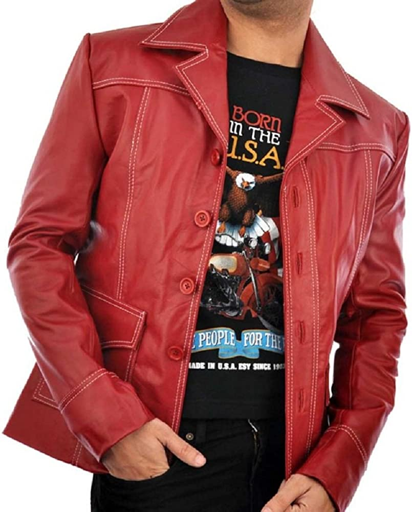 Fight Club Tyler Durden Red Brad Pitt Men/'s Leather Coat