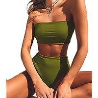 FITTOO Bikini Brasileño Sexy Trajes de baño Dos Pieza V-Cuello de Moda Color Solido Talla Grande340