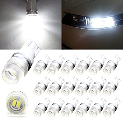 Boodled 20pcs T10 Wedge 2323 High Power Chips 1W White/Warm White LED Light Bulbs W5w 194 168 192 921 20-pack (20 x T10-1W) (Super White (6000K~6500K)): Automotive