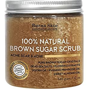 Brown Sugar Scrub by Buena Skin | For Face and Body - Anti Cellulite Treatment, Natural Exfoliator, Moisturizer Promoting Radiant Skin,100% Natural 12 oz