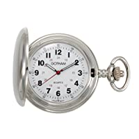 Gotham Men's Silver-Tone Polished Finish Covered Quartz Pocket Watch # GWC15042S