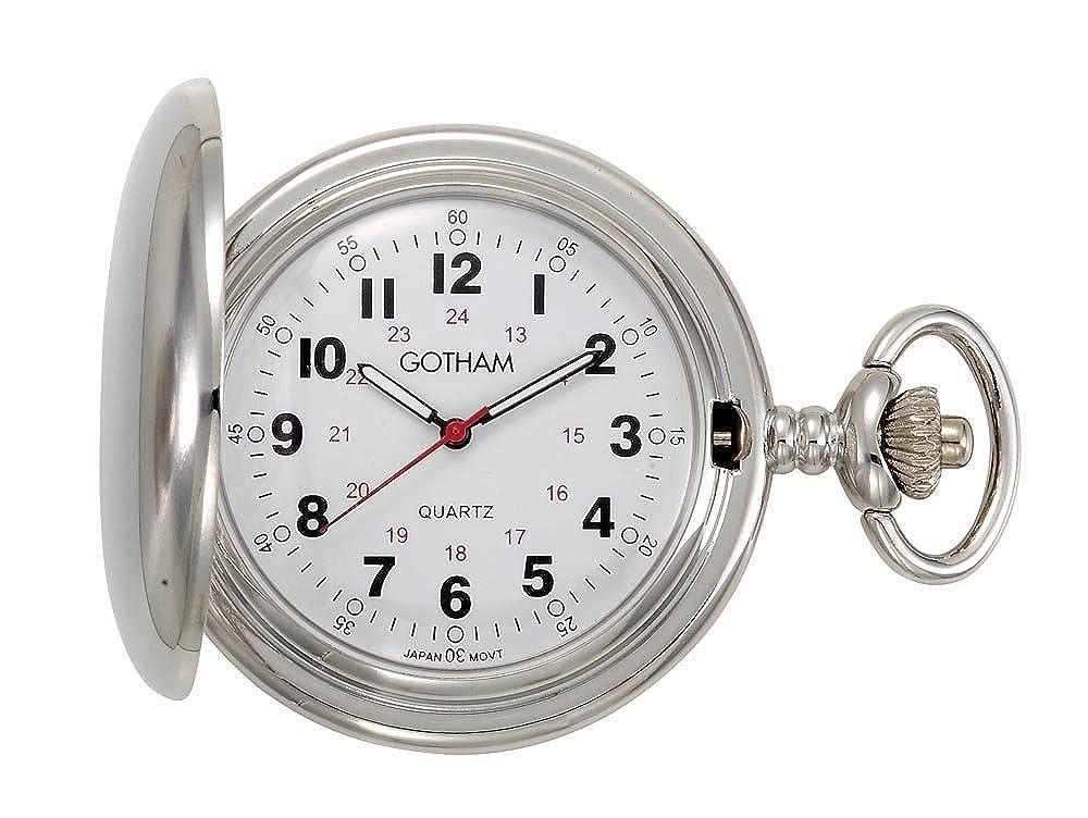 Gotham Men s Silver-Tone Polished Finish Covered Quartz Pocket Watch GWC15042S