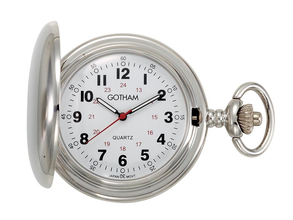 Gotham Men's Silver-Tone Polished Finish Covered Quartz Pocket Watch # GWC15042S by Gotham (Image #1)