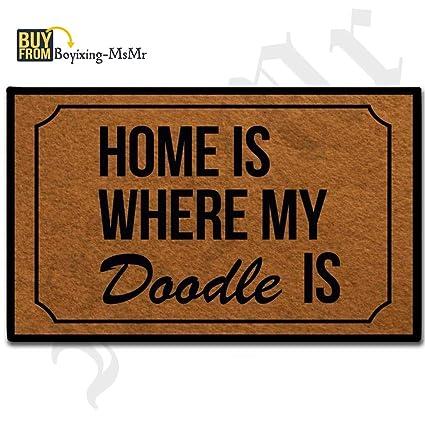 Msmr Doormat Entrance Floor Mat Funny Doormat Home Is Where My Doodle Is Designed Indoor Outdoor Door Mat Non Woven Fabric Top 236x157inch
