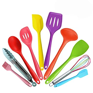 Feskio 10 Pieces Silicone Kitchen Cooking Utensils Heat Resistant Nonstick Baking Tool Set Include Pasta Spoon,Slotted Spoon,Tongs,Spoonula,Ladle,Turner,Basting Brush,Whisk,Large Spatula,Small Spatula