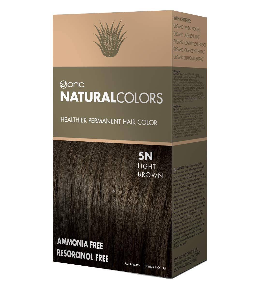 ONC NATURALCOLORS 5N Natural Light Brown Healthier Permanent Hair Color Dye 4 fl. oz. (120 mL) with Certified Organic Ingredients, Ammonia-free, Resorcinol-free, Paraben-free, Low pH, Salon Quality, E by ONC NATURALCOLORS