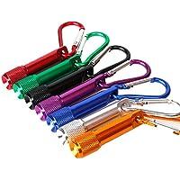 Prochive 7 Schlüsselanhänger mit Mini-LED-Taschenlampe, batteriebetrieben, Taschenlampe für Camping, Wandern, Jagd, Rucksackreisen, Angeln und andere Outdoor-Aktivitäten, superkleine Taschenlampe am Schlüsselanhänger, mehrere Farben