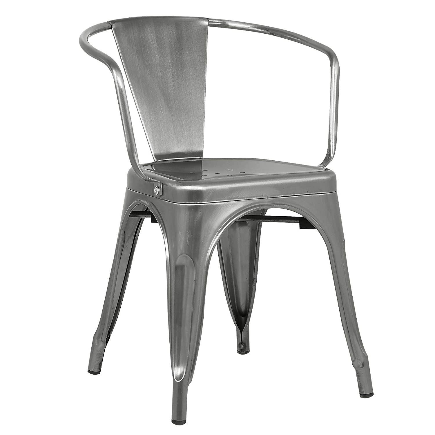 Poly and Bark Trattoria Arm Chair in Polished Gunmetal