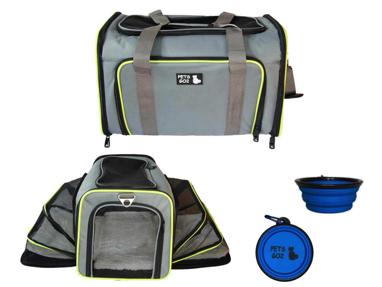 PETS GO2 Pet Carrier for Dogs & Cats | Best Airline-Approved Dog Travel Bag for Pet Safety & Security | Adjustable Carrier Size for a Small. Medium, or Large Dog, Cat, Bird, or Guinea Pig | Grey by PETS GO2