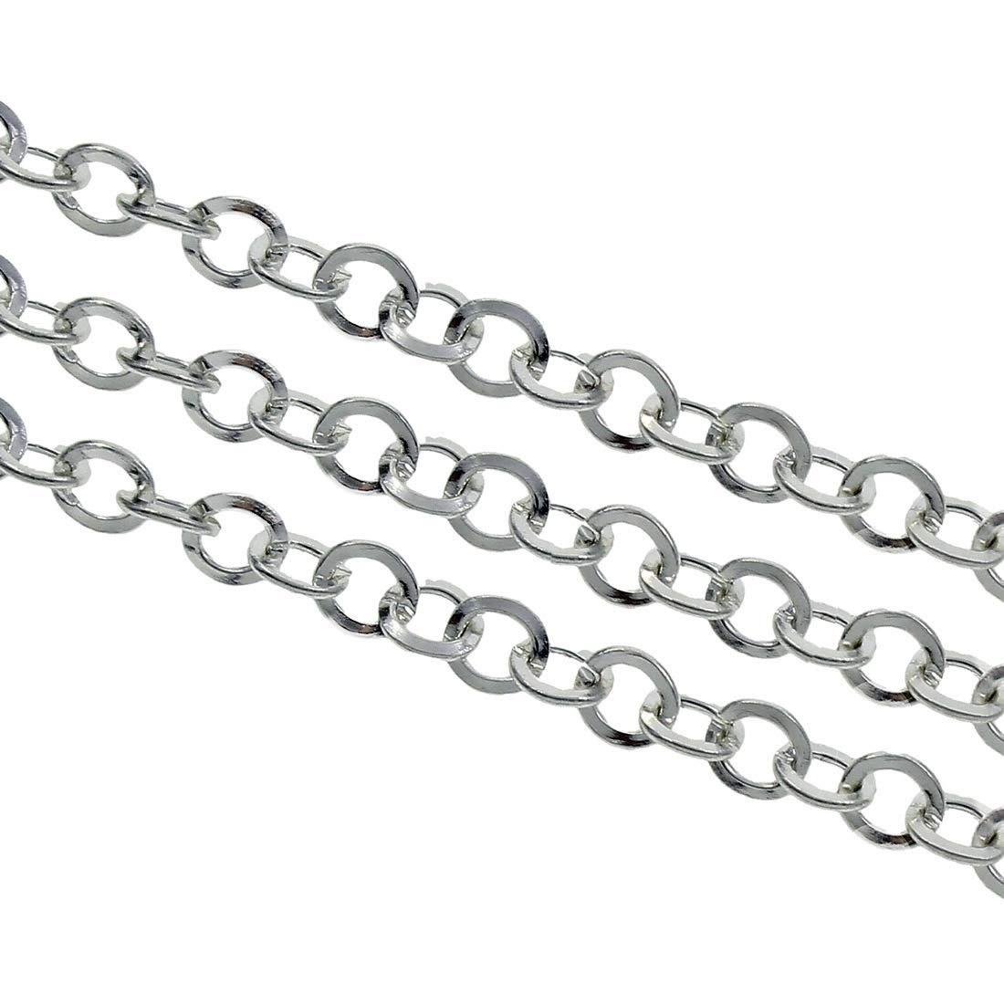 Perlin 3 Meter Gliederkette Link Kette Metallkette Rund 5mm Silber Schmuckkette Meterware zur Schmuckherstellung von Halsketten Armband DIY Basteln K13