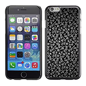 PC/Aluminum Funda Carcasa protectora para Apple Iphone 6 Plus 5.5 Flowers Grey Wallpaper Black Garden / JUSTGO PHONE PROTECTOR