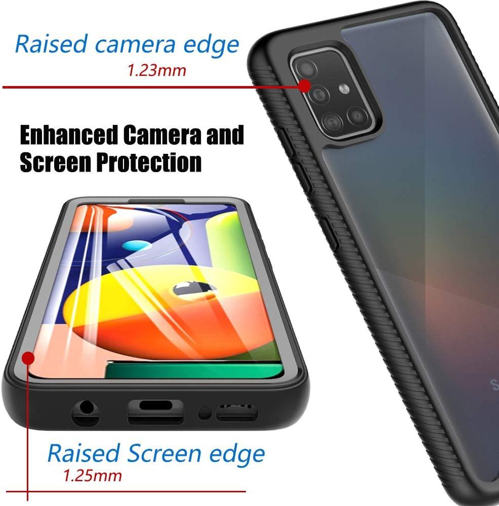 Protector Pantalla Integrado para Samsung Galaxy A51 2020 Negro+Transparente OWKEY Funda Samsung Galaxy A51 360 Carcasa Completa Transparente Antigolpes Case