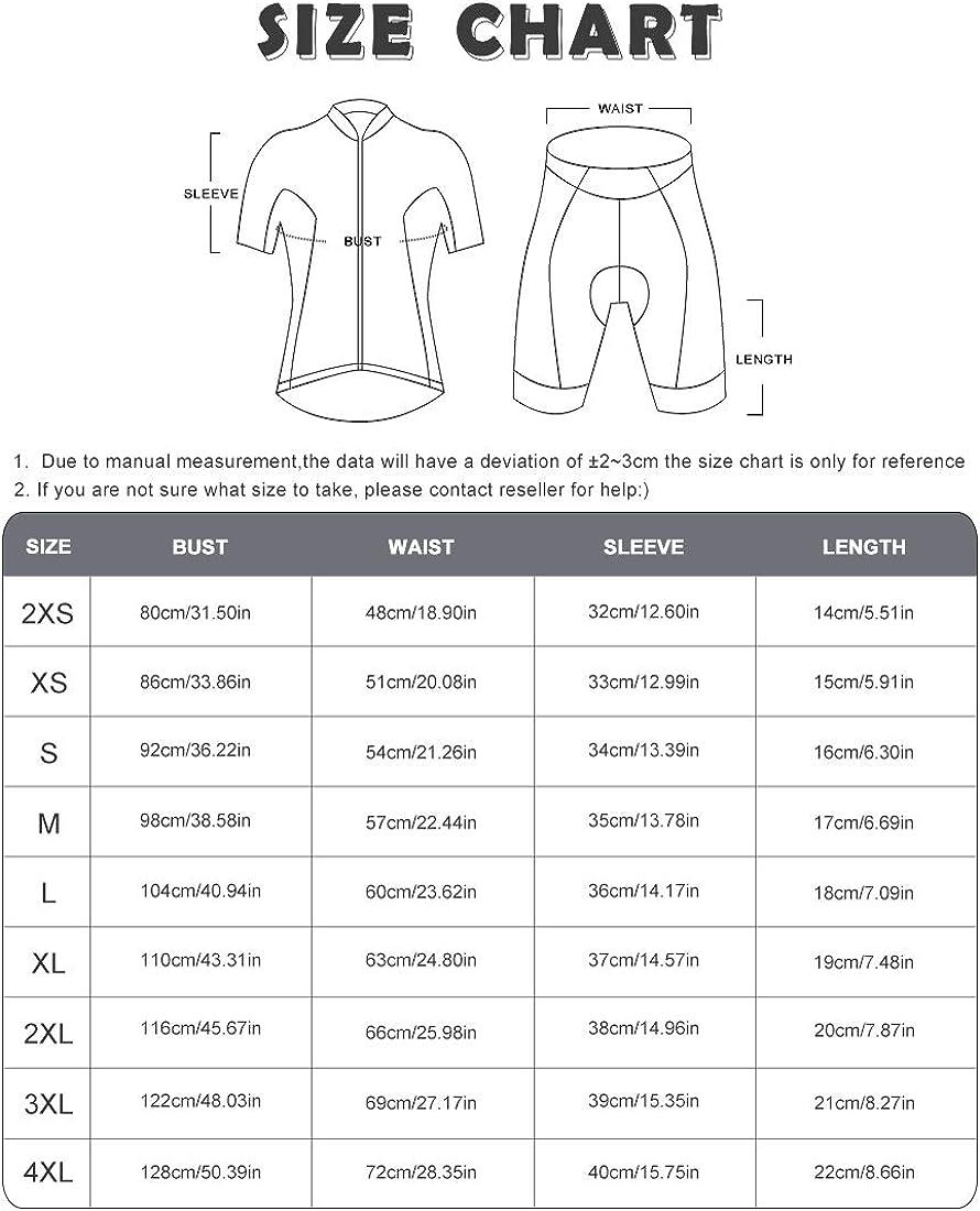 GWELL Herren Radtrikot Atmungsaktive Fahrradbekleidung Set Trikot Kurzarm /& Radhose mit Sitzpolster f/ür Radsport