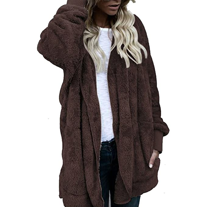 DEELIN Moda De Invierno De La Mujer Ocasional De Felpa con Capucha Chaqueta De Abrigo Largo con Capucha Chaqueta Cardigan Coat: Amazon.es: Ropa y accesorios