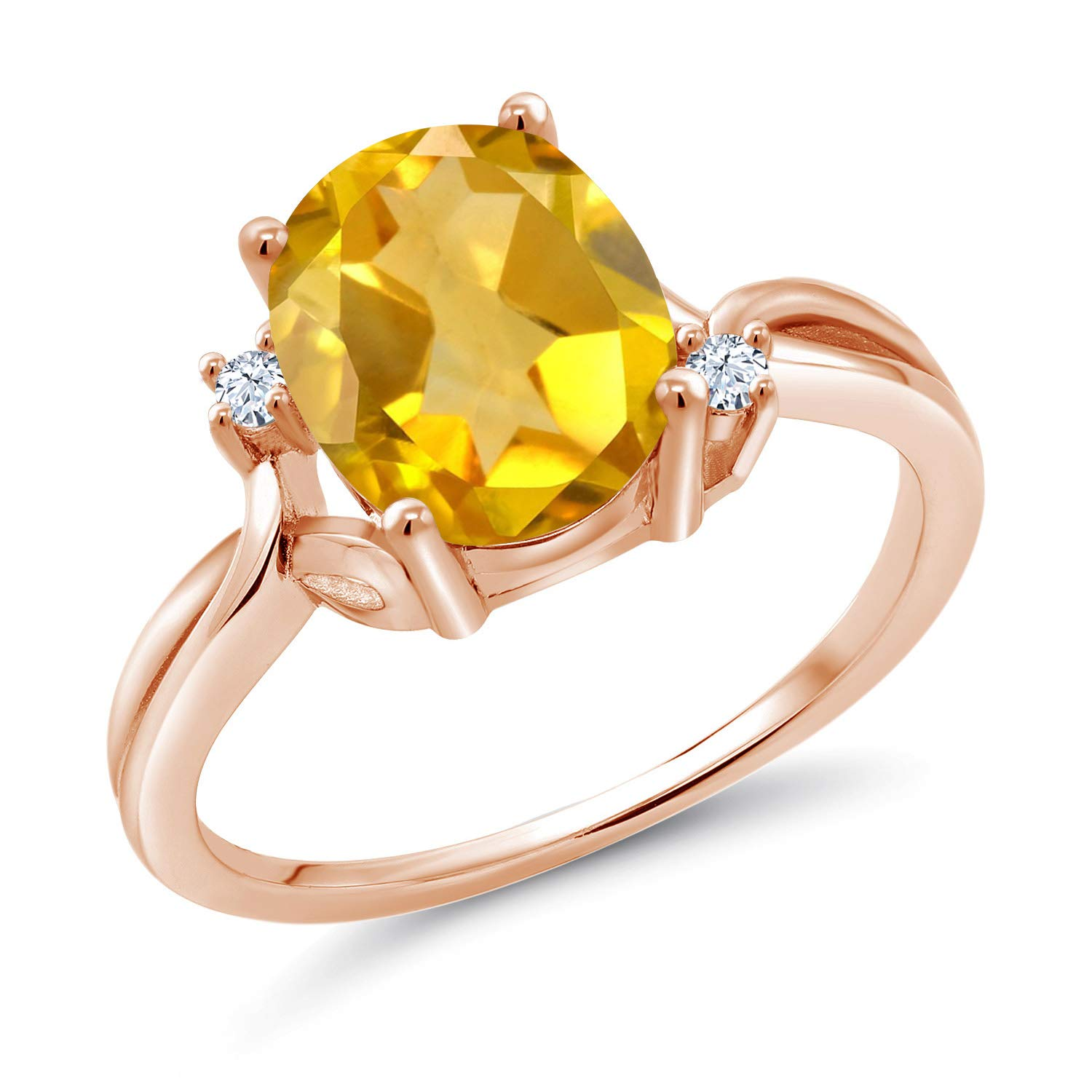 Gem Stone King 2.03 Ct Oval Yellow Citrine White Created Sapphire 14K Rose Gold Ring (Size 5)