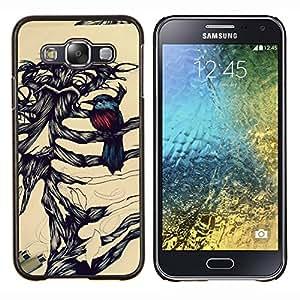 """Be-Star Único Patrón Plástico Duro Fundas Cover Cubre Hard Case Cover Para Samsung Galaxy E5 / SM-E500 ( Pájaro Retrato a lápiz Huesos Esqueleto"""" )"""