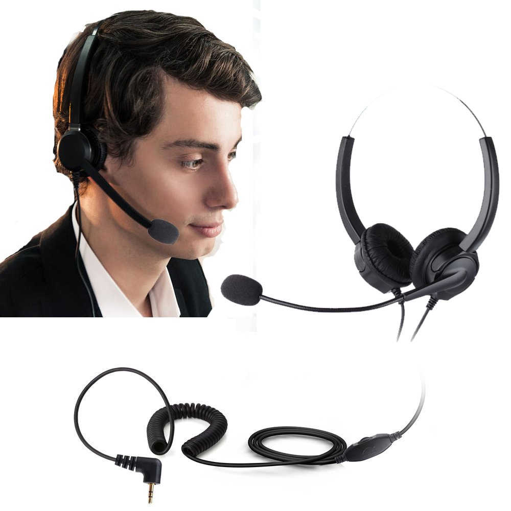 call center Most Cordless Phones Noise Cancelling Corded Headphone With Boom-style Mic for Panasonic Desk Phones Cheeta 2.5mm Jack Binaural Phone Headset