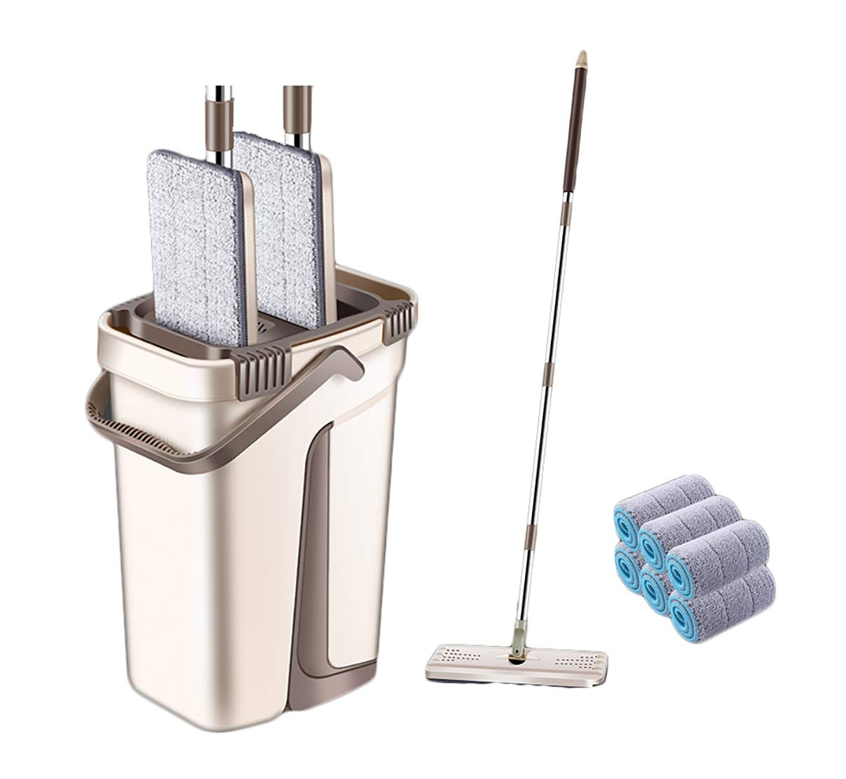 YJJY Flat Mop Bucket Wash Cleaning System - Wet and Dry Mopping Microfiber Flat Mop,1 Reusable Ecofriendly Pads, Floor Cleaning