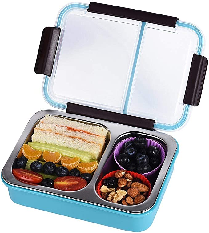 Bento Box 2 Compartments Stainless Steel Lunch Box for Adults and Kids, Portion Control Lunch Containers Leakproof, BPA Free - Blue