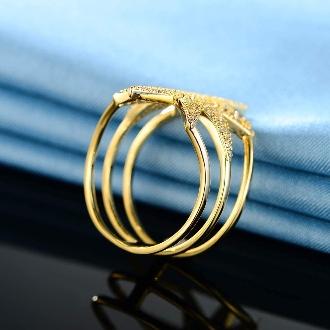 OPALBEST 14K Gold Plated Ring CZ Statement Cocktail Ring Wide Band for Women Men