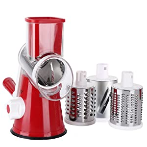 Rotary Cheese Grater Shredder Chopper Round Tumbling Box Mandoline Slicer Nut Grinder for Vegetable,Hash Brown, Potato with 3 Sharp Drums Blades and Strong Suction Base by Valuetool