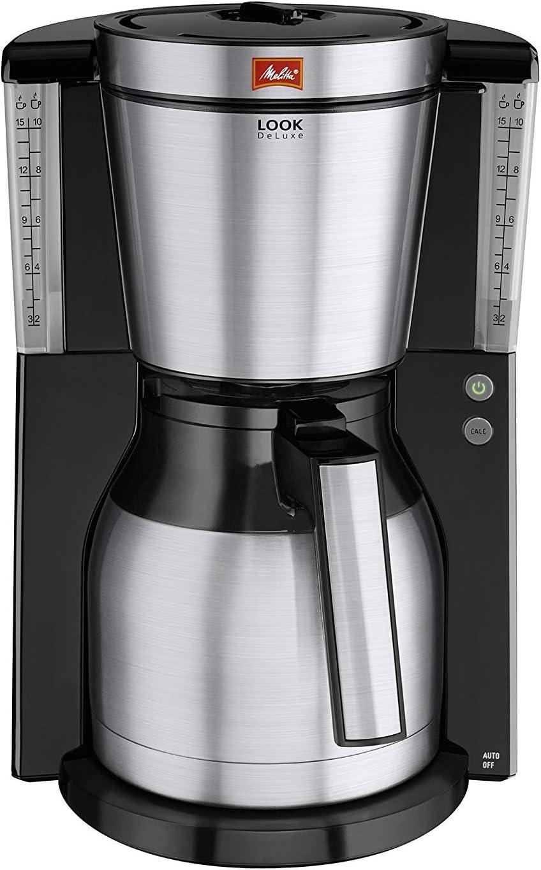 Melitta Look Therm Deluxe Cafetera de Filtro, 1000 W, 1.25 litros, Negro/Acero Inoxidable: Amazon.es: Hogar