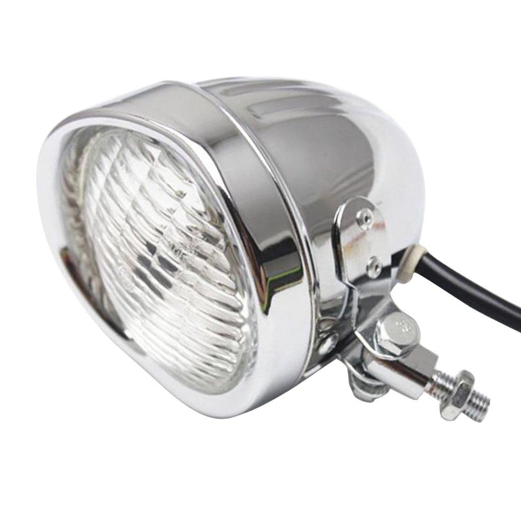 Almencla Chrome Motorcycle 4inch Headlight White Light Lamp Replacement for Harley Bobber Touring Custom Bikes