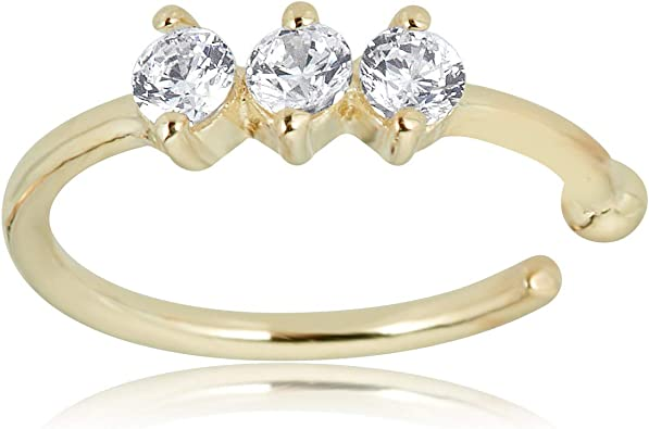 Amazon Com Avora 14k Yellow Gold 2mm 3 Stone Simulated Diamond Cz Nose Ring Hoop 20 Gauge Jewelry