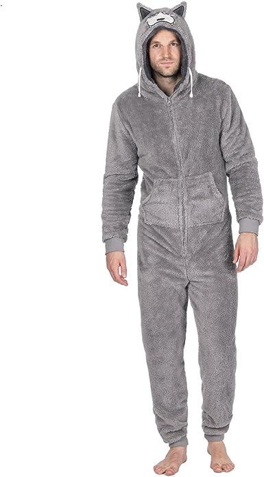 Dreamz - Pijama de una Pieza - para Hombre Gris Lobo: Amazon.es: Ropa y accesorios