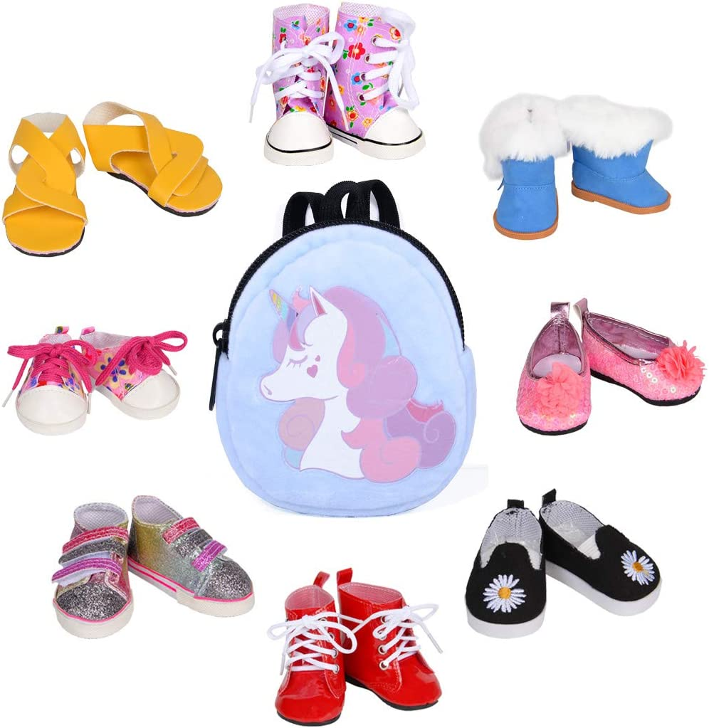 8 Pairs of Sequins Casual Shoes with Backpack School Bag for 18 Inch Dolls Accessories