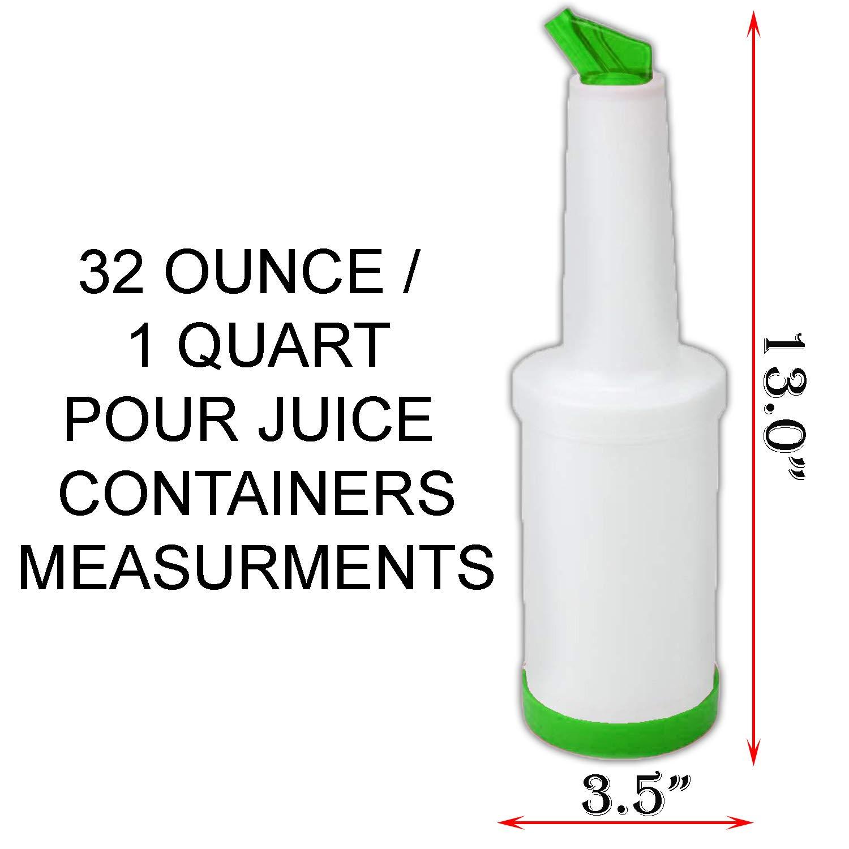 Liquor Bottle Pourers W/Tapered Spout 6 Pk + 4 Alcohol/Juice Pour Bottles, Multi Colors, Bar Supplies. by HeroFiber (Image #3)