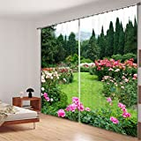 LB Polyester 2 Panels 3D Effect Print Blackout Window Curtains,Garden Blooming Flowers,Modern Practical Window Treatment Decorative,Bedroom Living Room Window Drapes (80''W By 84''L)